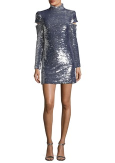 Helmut Lang Disco Mock-Neck Slit-Sleeves Sequined Mini Cocktail Dress
