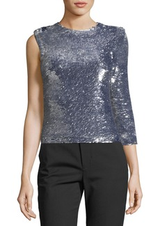 Helmut Lang Disco One-Sleeve Sequined Top