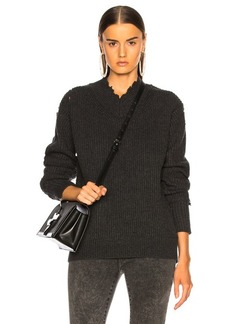 Helmut Lang Distressed Cashmere V Neck Sweater