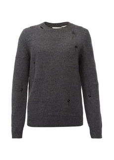 Helmut Lang Distressed crew-neck wool-blend sweater