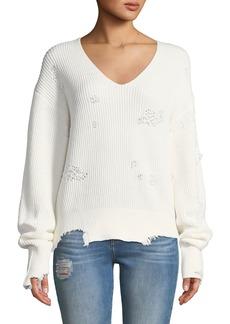 Helmut Lang Distressed Long-Sleeve V-Neck Sweater