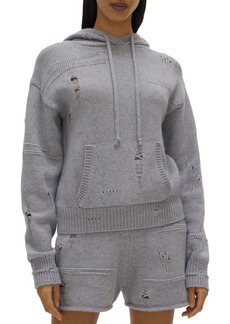 Helmut Lang Distressed Sweater Knit Hoodie