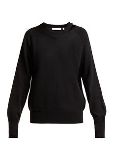 Helmut Lang Distressed V-neck cotton-blend sweater