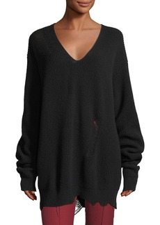 Helmut Lang Distressed V-Neck Oversized Wool-Cashmere Sweater
