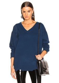 Helmut Lang Distressed Wide V Neck Sweater