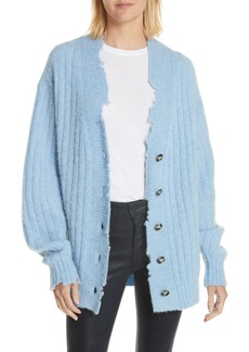 Helmut Lang Distressed Wool & Alpaca Blend Cardigan