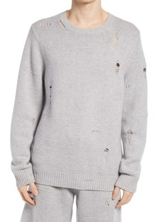 Helmut Lang Distressed Wool Blend Crewneck Sweater
