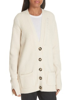 Helmut Lang Distressed Wool Cardigan