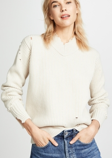 Helmut Lang Distressed Wool V Neck Pullover
