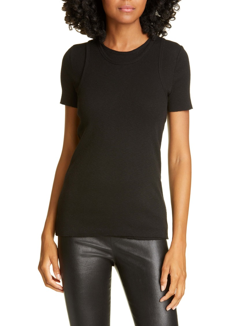 Helmut Lang Double Layer Ribbed Cotton Tee