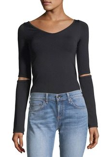 Helmut Lang Double-V Slit-Sleeve Seamless Top