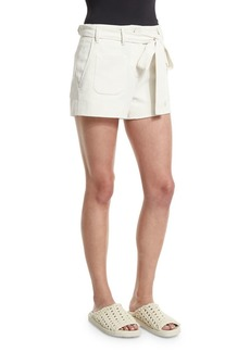 Helmut Lang Double-Weave Cotton Belted Shorts