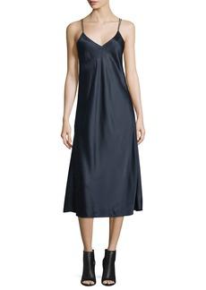 Helmut Lang Draped-Back Silk Satin Midi Dress
