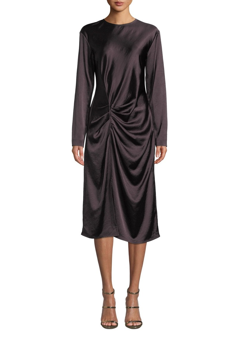 Helmut Lang Draped Long-Sleeve Twill Midi Dress
