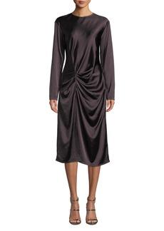 Helmut Lang Draped Long-Sleeve Twill Midi Dress