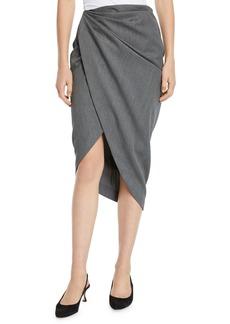 Helmut Lang Draped Wool High-Low Pencil Skirt