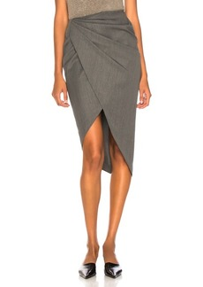 Helmut Lang Draped Wool Skirt