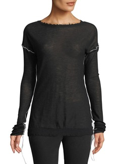Helmut Lang Dropped-Shoulder Cashmere Crewneck Top
