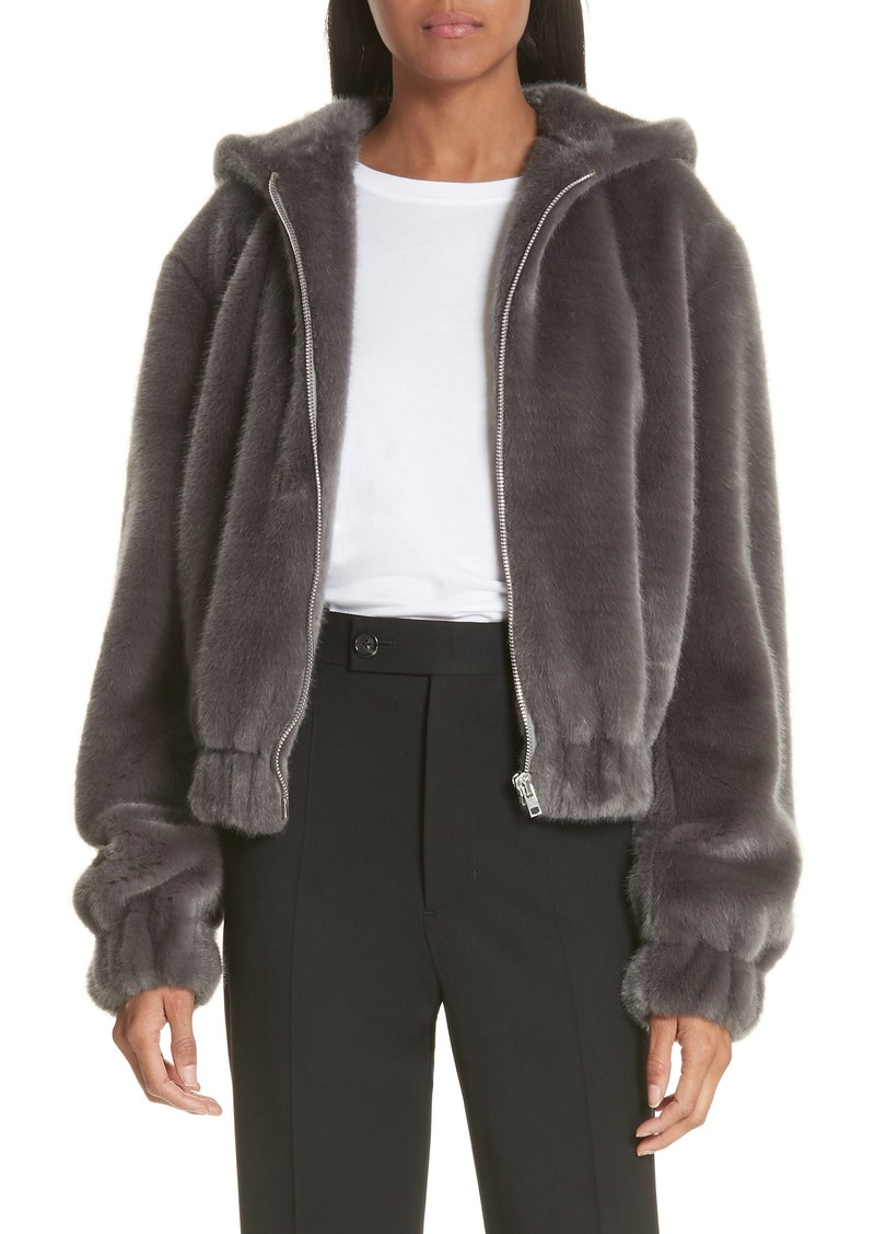 a2c249115 On Sale today! Helmut Lang Helmut Lang Faux Fur Hooded Bomber Jacket