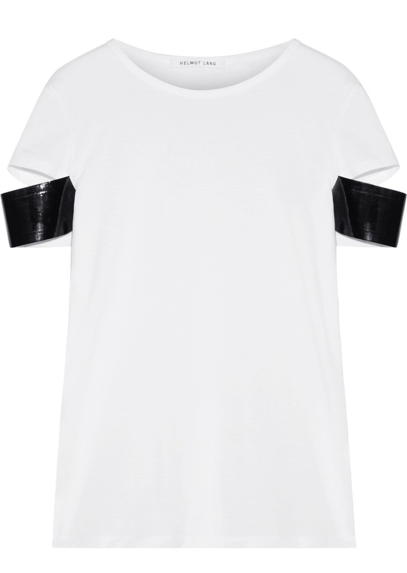aa8f16ee94cf Helmut Lang Faux patent leather-trimmed Pima cotton-jersey T-shirt