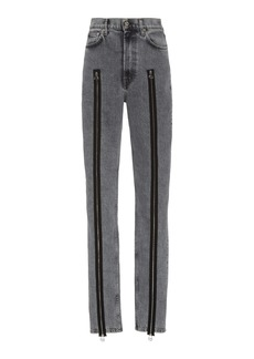 Helmut Lang Femme Hi Spikes Acid-Wash Zip-Detailed Jeans