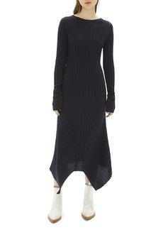 Helmut Lang Fine Wool Ribbed Maxi Dress