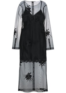 Helmut Lang floral embroidered mesh dress - Black