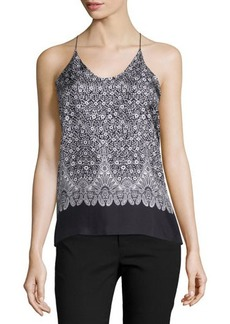 Helmut Lang Floral Silk Cross-Back Tank