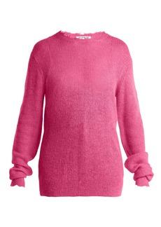 Helmut Lang Frayed trim sheer knit sweater