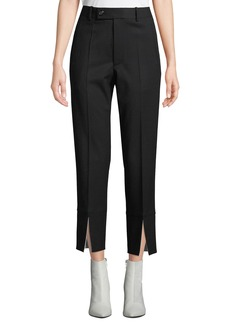 Helmut Lang Front-Slit Cropped Wool Suit Pants