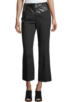 Helmut Lang Garter Flared-Leg Cropped Wool Pants