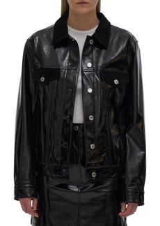 Helmut Lang Glossy Leather Trucker Jacket