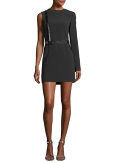 Helmut Lang Harness One-Sleeve Crepe Mini Dress
