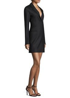 Helmut Lang Herringbone Wool-Blend Blazer Dress