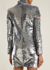 Helmut Lang High-neck sequin-embellished mini dress