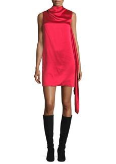 Helmut Lang High-Neck Sleeveless Draped Satin Shift Dress