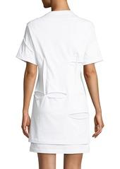 Helmut Lang Holey Distressed Crewneck Short-Sleeve Mini Dress