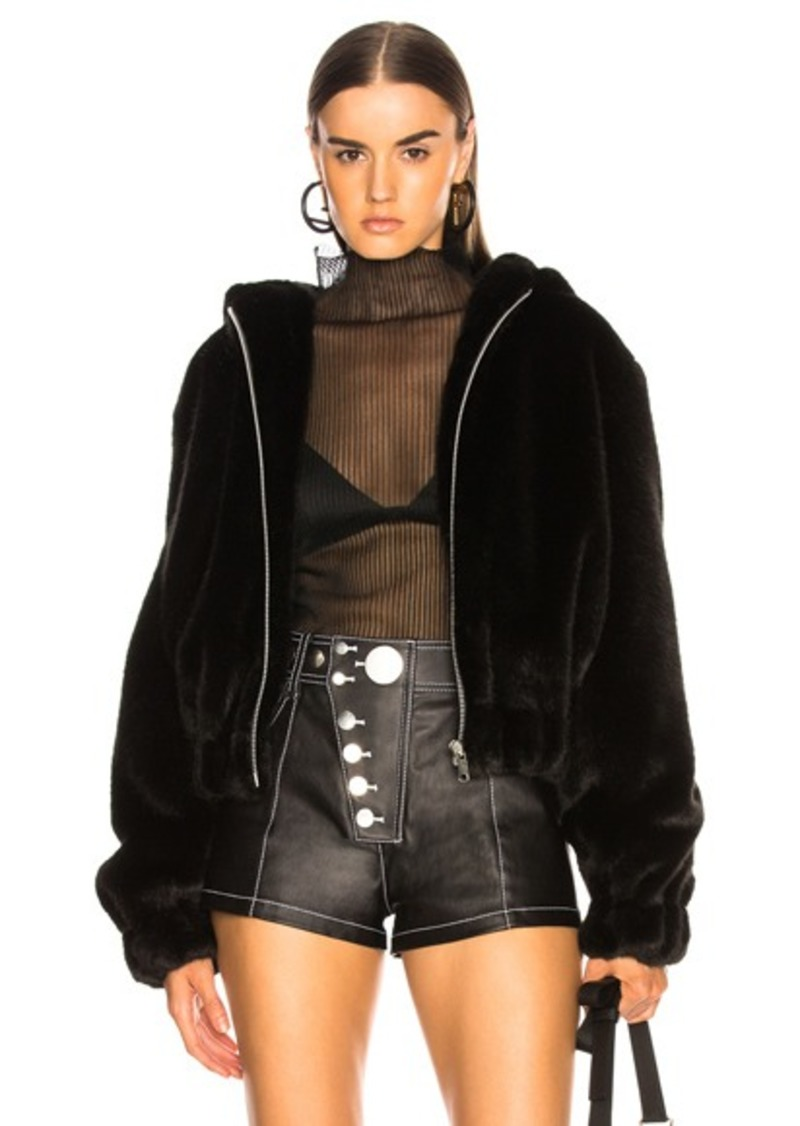 Helmut Lang Hooded Faux Mink Bomber Jacket