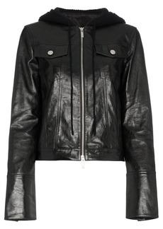 Helmut Lang hooded leather jacket - Black