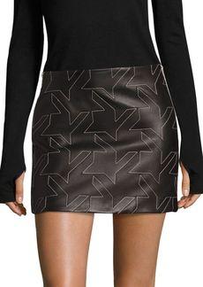 Helmut Lang Houndstooth Leather Mini Skirt