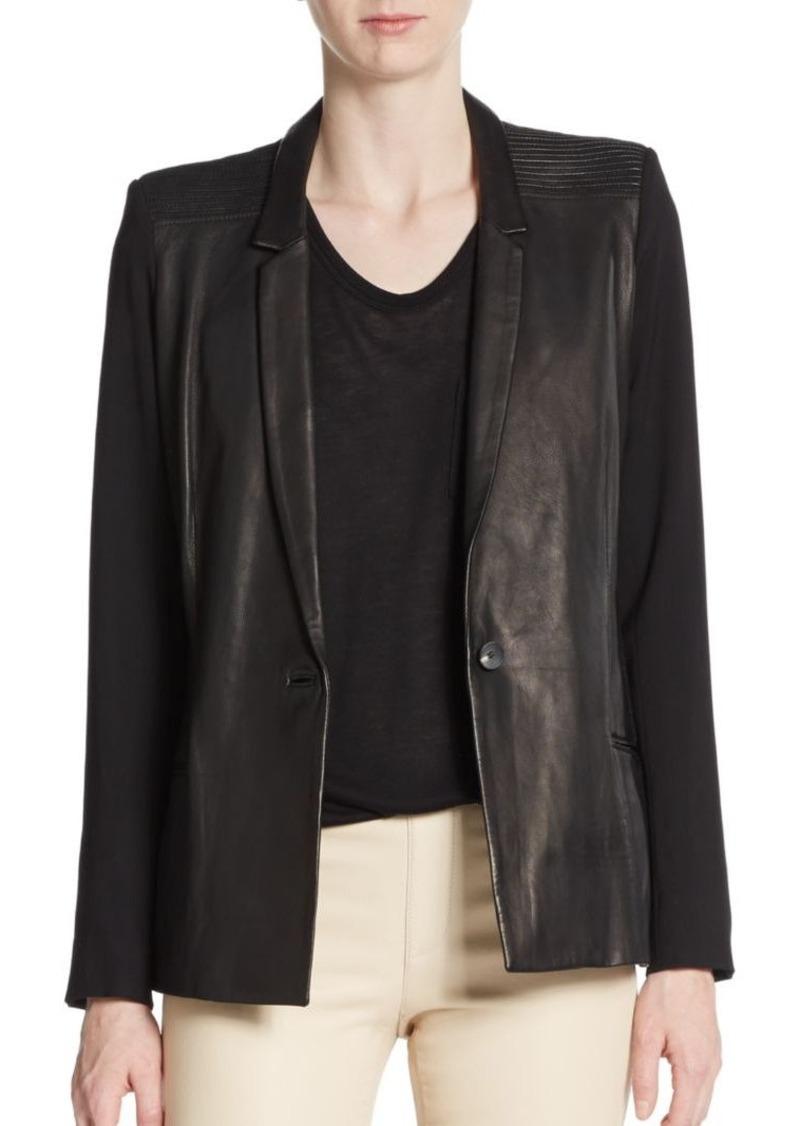 Helmut Lang Knit Paneled-Leather Jacket