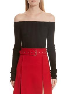 Helmut Lang Knit Silk Off the Shoulder Sweater