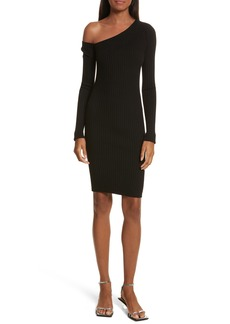 Helmut Lang Knit Stretch Silk One-Shoulder Dress