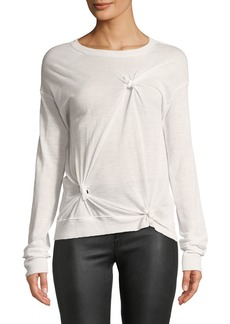 Helmut Lang Knotted Crewneck Long-Sleeve Cashmere Sweater