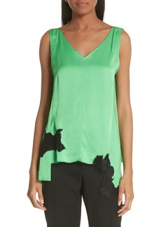 Helmut Lang Lace Inset Satin Tank Top