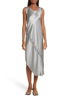 Helmut Lang Lacquered Silk Asymmetrical Dress