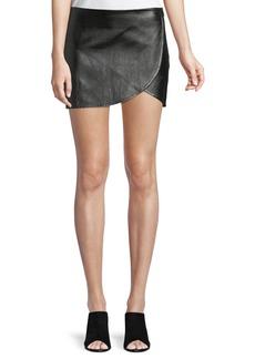 Helmut Lang Lamb Leather Mini Overlap Skirt