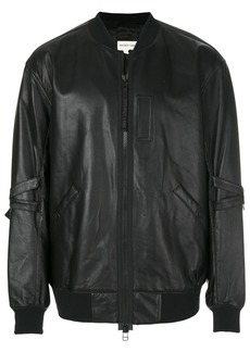 Helmut Lang leather bomber jacket - Black