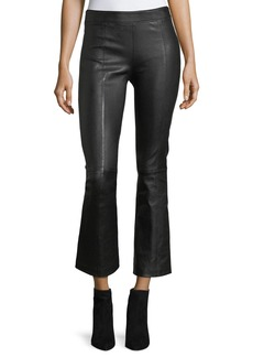 Helmut Lang Leather Mid-Rise Crop Flare Pants