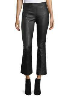Helmut Lang Leather Mid-Rise Crop Flare Pants